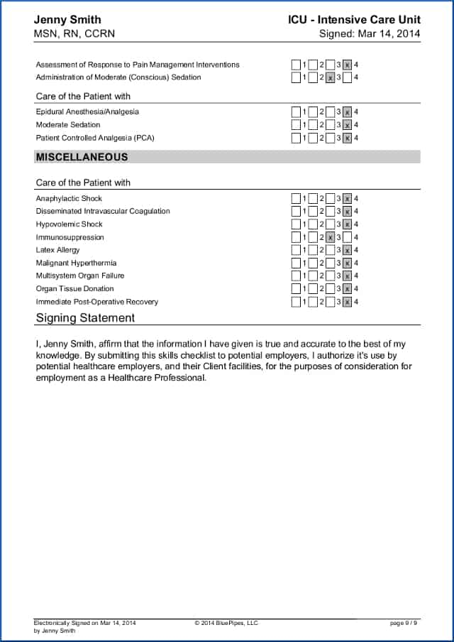 Sample Travel Checklist | Sample Travel Nursing Skills Checklist Free Bluepipes Blog