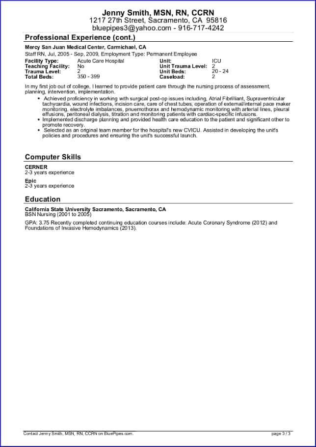 Sample Travel Nursing Resume Page 3 2014